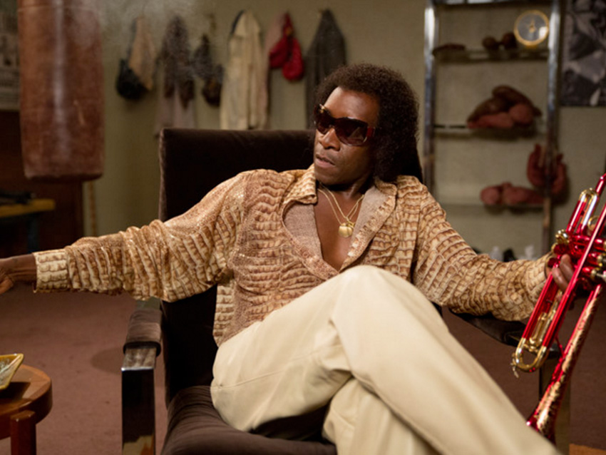 Don Cheadle as Miles Davis, wearing lenses from Montgomery Vision Care, Cincinnati, Ohio