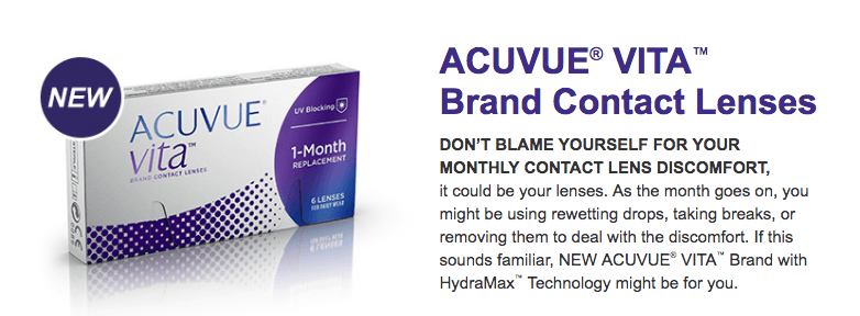 Acuvue Vita with HydraMax technology lenses are here!